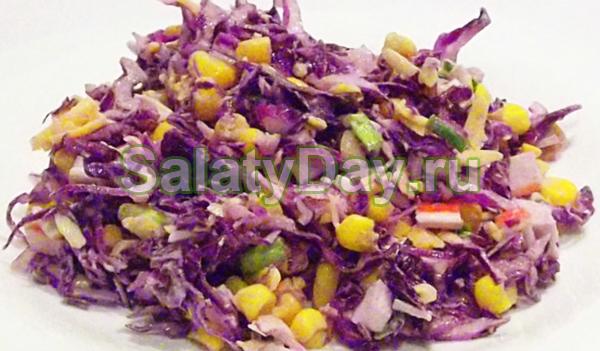 из краснркачанной капусты Вкусгый салат