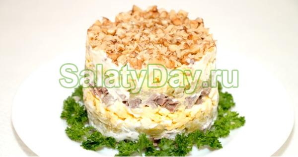 Слоеный салат Принц с мясом, огурцами и пикантной приправой