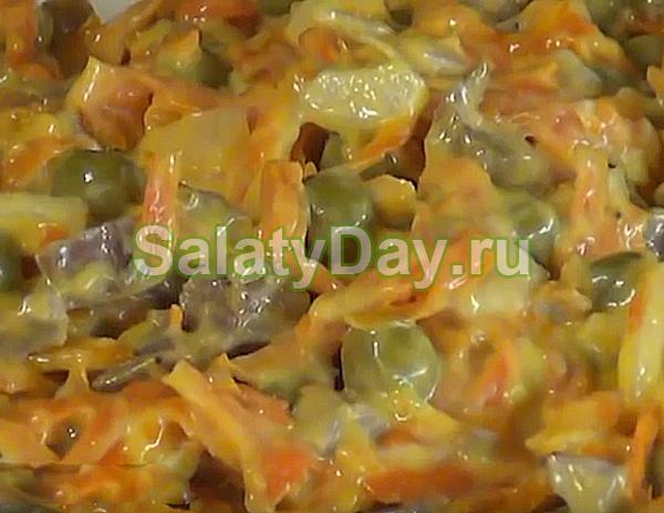 Салат Купеческий с мясом, горошком и овощами