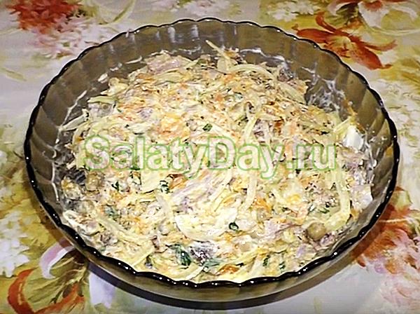 Салат Купеческий со свининой, морковью и горошком