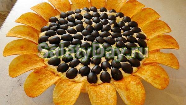 Салат с печенью трески «Подсолнух»