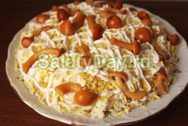 Рецепт салата с опятами маринованными 4