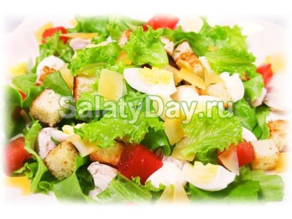 Салат с перепелиными яйцами и семгой