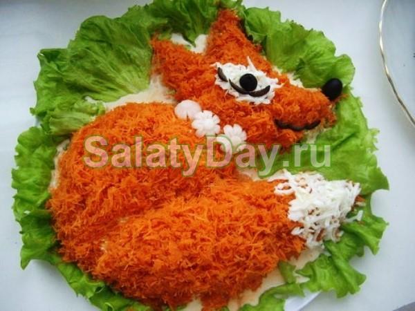 Салат «Лисичка» с корейской морковкой