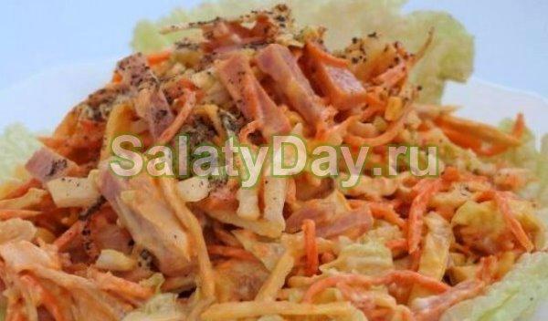 Салат «Анастасия» с корейской морковкой и омлетом