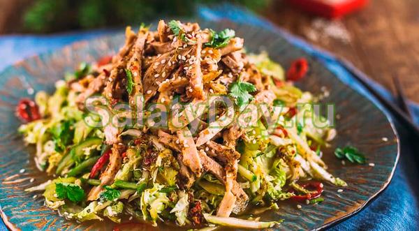 Салат с мясом и огурцами по-восточному