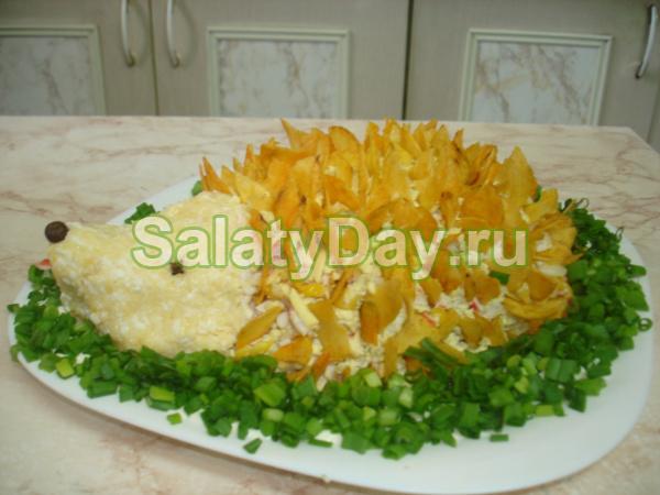 Салат «Ежик с корейской морковкой