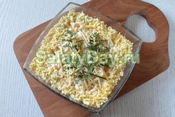 рецепт мимозы с сайрой и сыром с фото