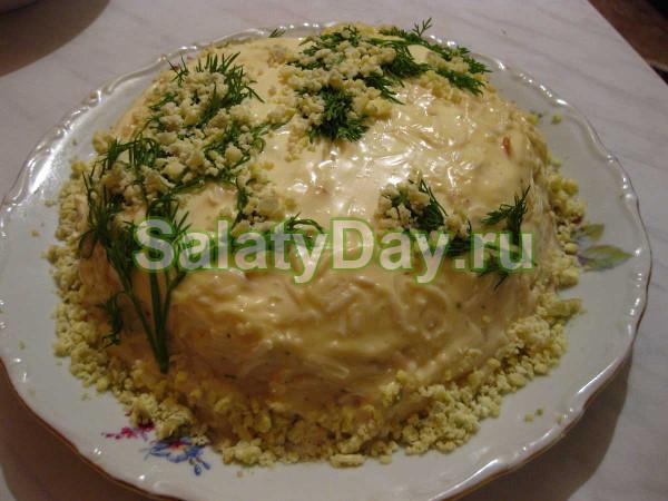 Мимоза с сайрой и рисом