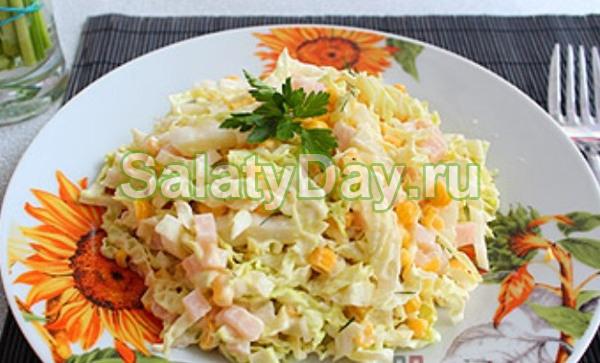 Рецепт салата с кукурузой и капустой фото