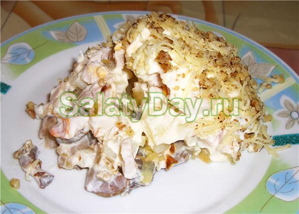 рецепт салата с жареными шампиньонами