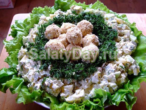 салат гнездо глухаря рецепт с копченой