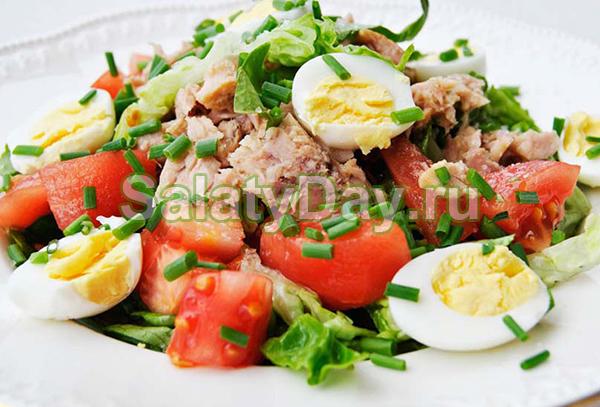 Салат из перепелиных яиц с тунцом по-провански