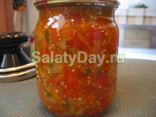 Консервированные салаты из помидор и перца с морковью