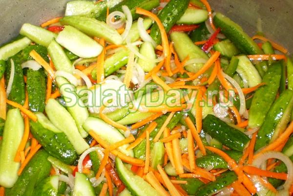 Салат с огурцом и капустой на зиму