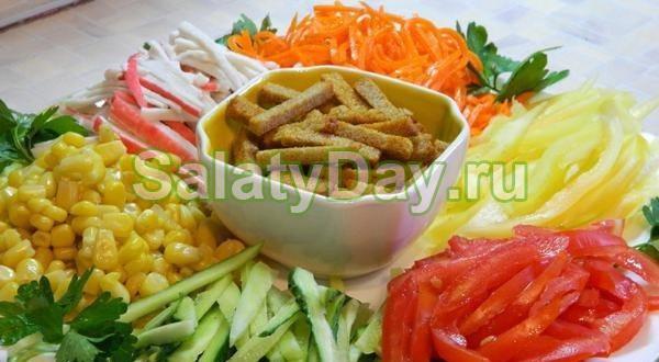 Салат «Цветик семицветик» с крабовыми палочками и морковкой по-корейски
