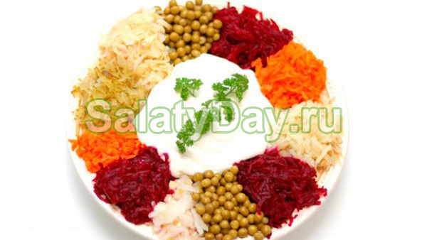 Салат «Цветик семицветик» с маринованными огурцами