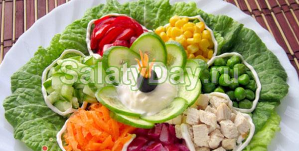 Салат «Цветик семицветик» весенний