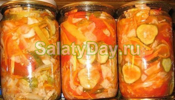 салат на зиму из огурцов помидор капусты перца лука