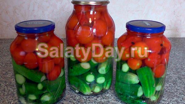 Салат с огурцами и помидорами без стерилизации с водкой