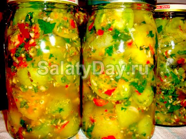 Готовим на зиму салат из зеленых помидоров