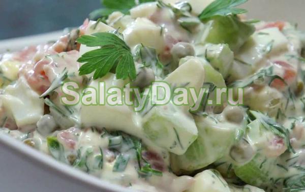 Салат из копченой рыбы с лимоном