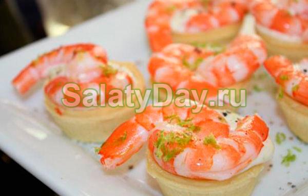 Салат в тарталетках с креветками