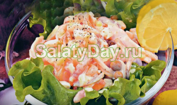 Самый вкусный царский салат с кальмарами и огурцами рецепт