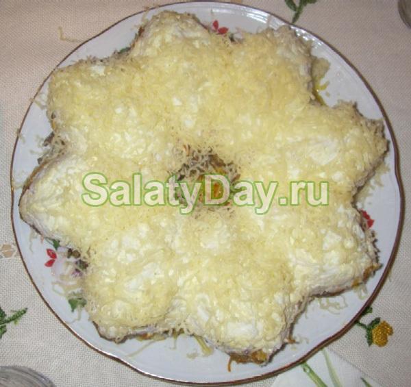 Куриный салат с грибами, яйцами и сыром