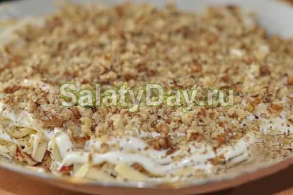 Салат с грецкими орехами курицей рецепт