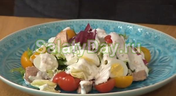Салаты с йогуртом и грибами