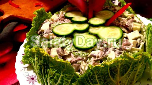 Салат из куриных желудков «Сытная вкуснятина»
