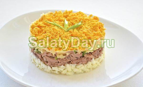 Рыбный салат с солеными огурчиками и яблоками