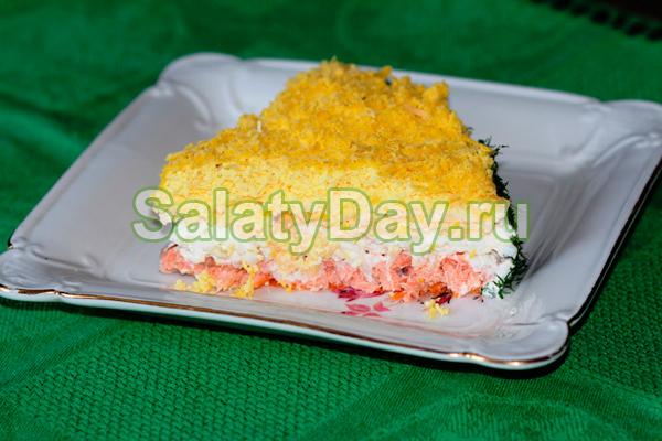 Салат мимоза с горбушей классический рецепт с маслом