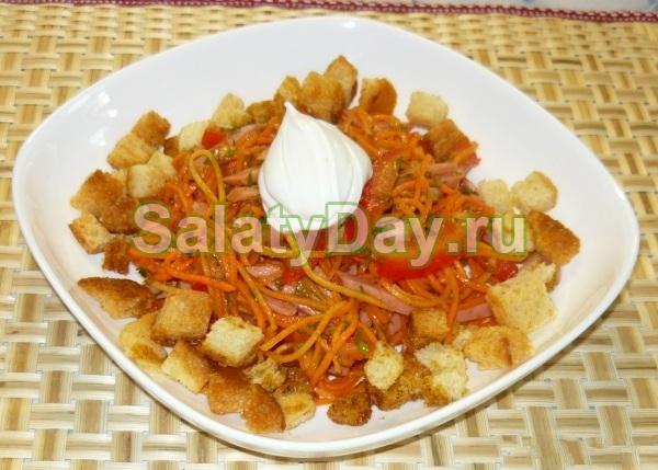 Салат с кириешками и морковью по-корейски