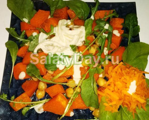 Салат из нута с запеченными овощами и сыром «Фета»