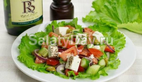 Овощной салат с фетой и сельдереем