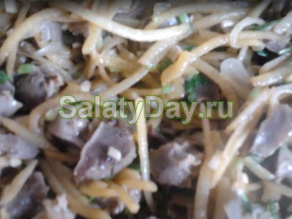 Салат из пупков куриных - с картофелем