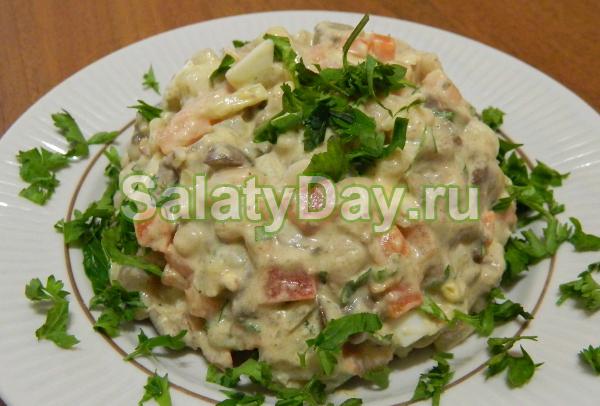 салат с куриной печенью рецепт с фасолью и