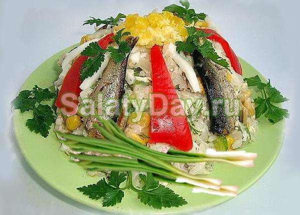 Салат Салага со шпротами