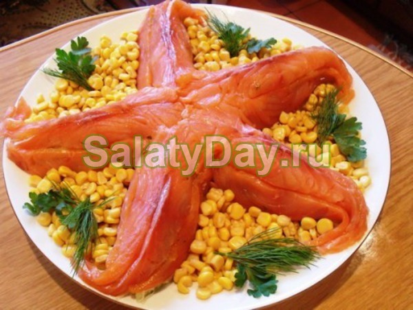 Салат с красной рыбой и кукурузой рецепт с фото очень вкусный с