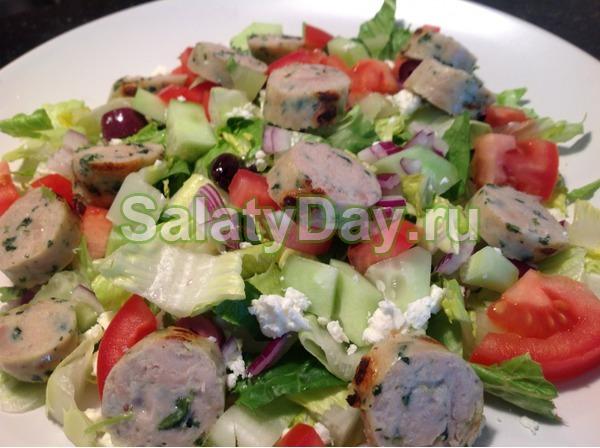 Салат на скорую руку с сосисками