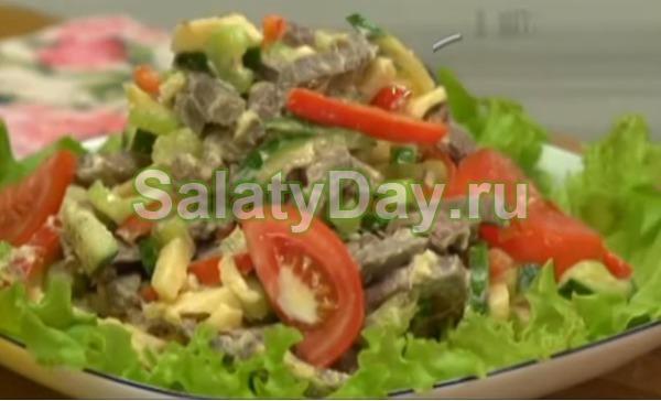 Салат с огурца говядины перец сладкий