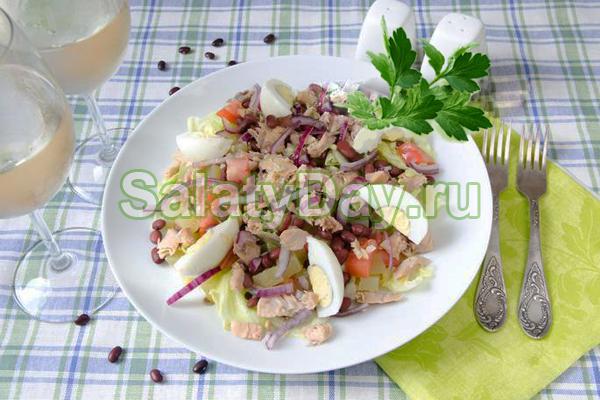 Салат горбуша консервированная фасоль