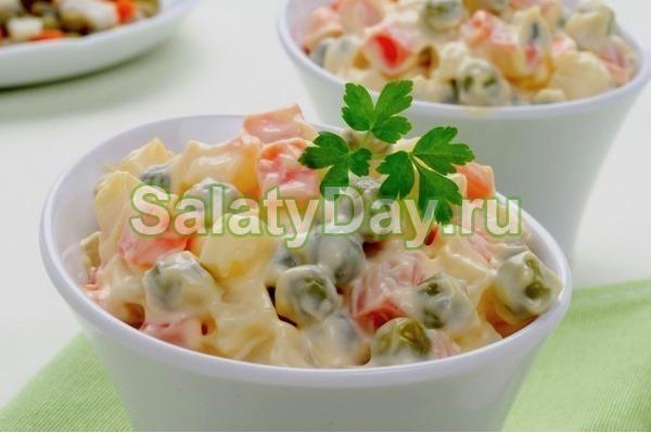 Классический салат Оливье с колбасой