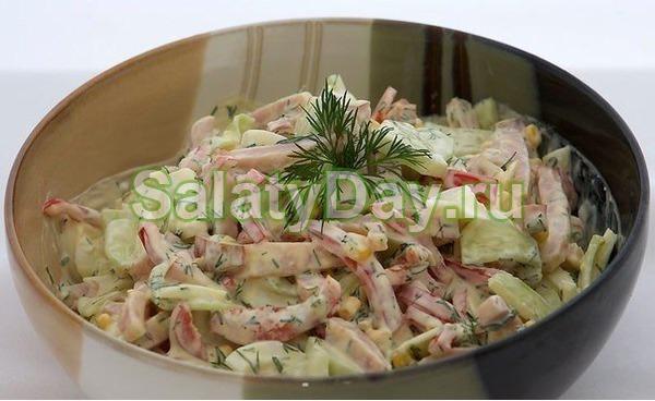 Простой салат на Новый год с яйцом и ветчиной