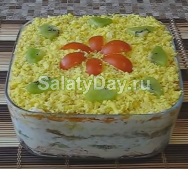 Салат с корейской морковью и курицей – и киви
