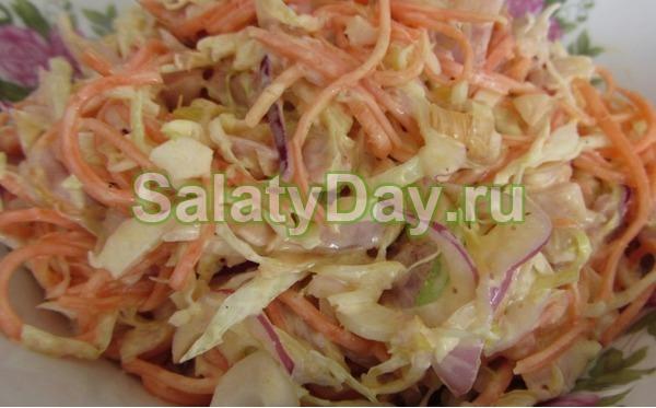 Салат с корейской морковью и курицей – капустой и грецкими орехами