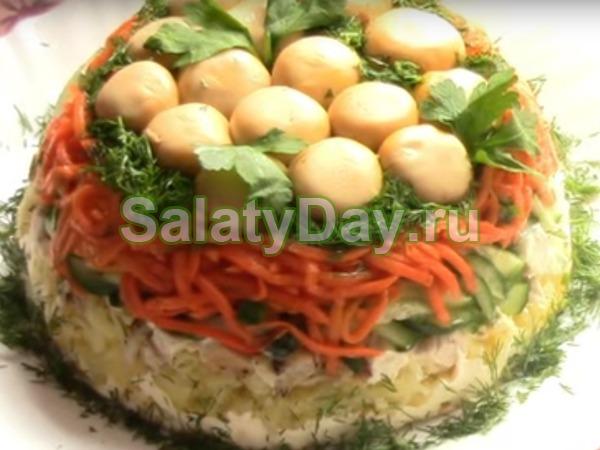 Салат с корейской морковью и курицей - «Грибная поляна»