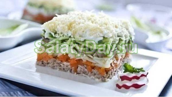 Салат из рыбных консервов «Лисья шуба»